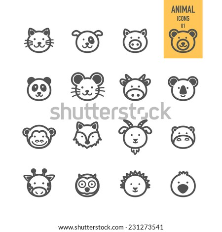 Animal face set. Vector illustration. - stock vector