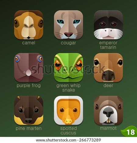Animal faces for app icons-set 18 - stock vector