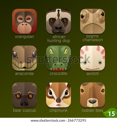 Animal faces for app icons-set 15 - stock vector