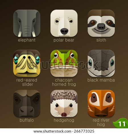 Animal faces for app icons-set 11 - stock vector