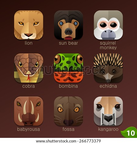 Animal faces for app icons-set 10 - stock vector