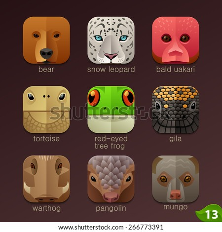 Animal faces for app icons-set 13 - stock vector