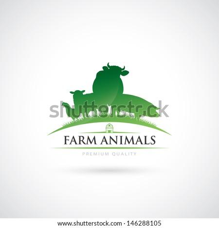 Animal farm label - vector illustration - stock vector