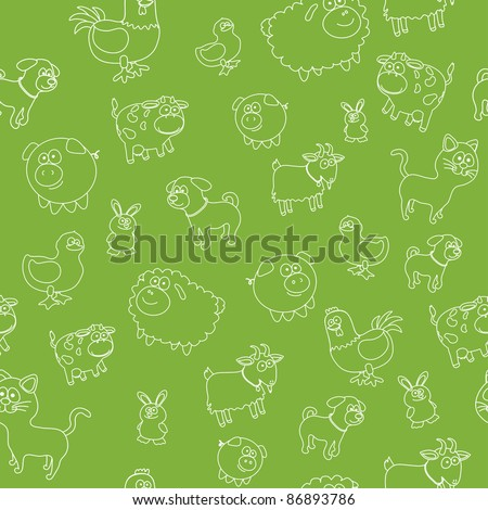 Animal farm seamless - stock vector