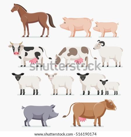 animal farm set horse pig cow stock vector royalty free 516190174