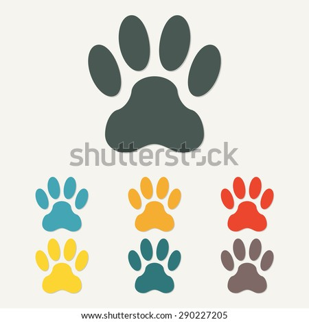 Animal footprint isolated on white background. Dog paw icon or sign. Colorful vector illustration. - stock vector