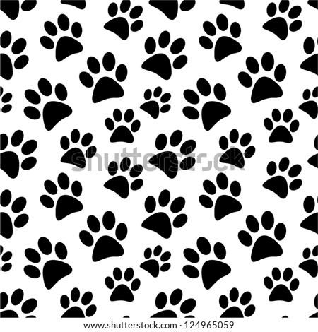 Animal footprint seamless pattern. - stock vector