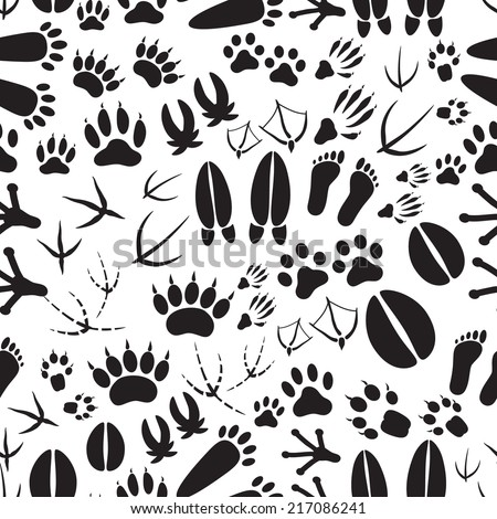 animal footprints black and white seamless pattern eps10 - stock vector