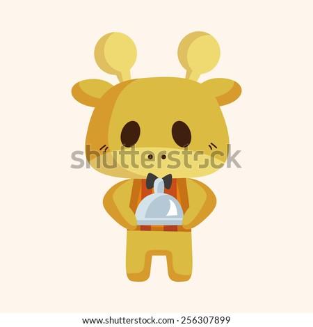animal giraffe waiter cartoon theme elements - stock vector