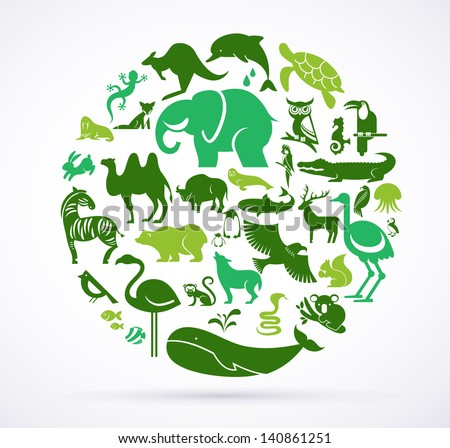 Animal green world - huge collection of icons and elements - stock vector
