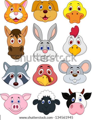 Animal head cartoon collection - stock vector