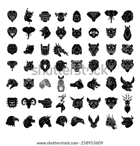 Animal Head Tattoo Big Set Collection  - stock vector