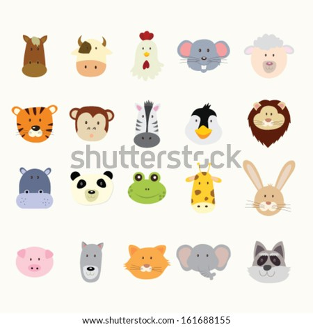 Animal heads - stock vector