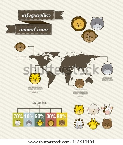 animal icons over vintage background. vector illustration - stock vector