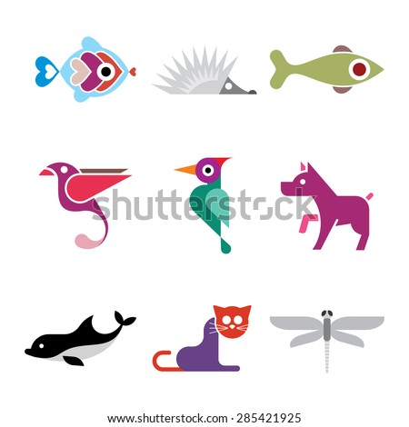 Animal icons. Set of isolated vector colorful clip arts on white background.  - stock vector
