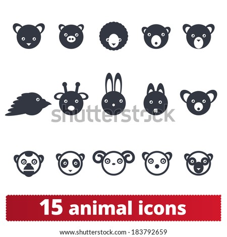 Animal icons. Vector set of signs: wildlife and domestic pets. - stock vector