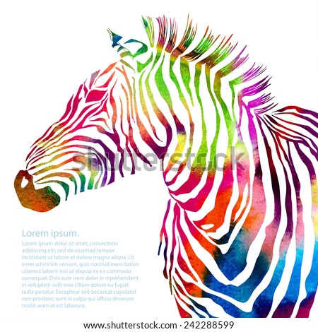 Animal illustration of watercolor zebra silhouette. Vector - stock vector