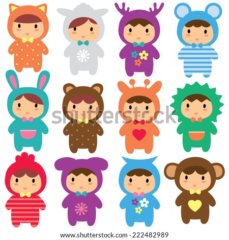 animal kids clip art set - stock vector