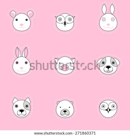 Animal logos set. Pink children's background. Seamless pattern. - stock vector