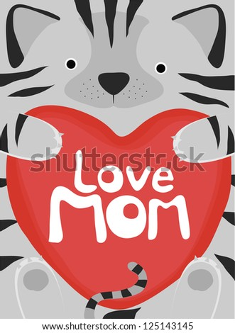 animal love collection, little cat love mom