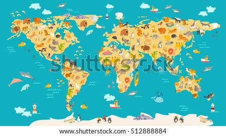 Animal map kid world vector poster vector de stock512888884 animal map for kid world vector poster for children cute illustrated preschool cartoon gumiabroncs Choice Image