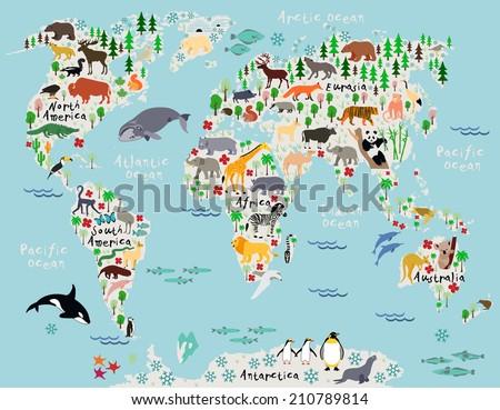 Animal Map World Children Kids Stock Vector 210789814 Shutterstock