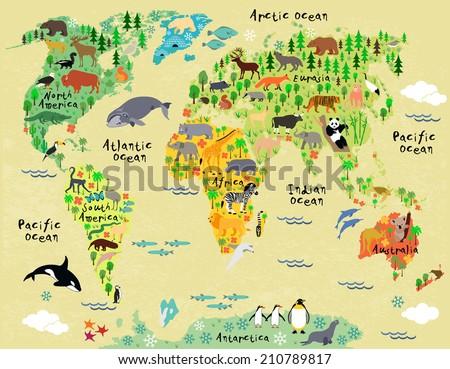 Animal Map World Children Kids Stock Vector 210789817 Shutterstock