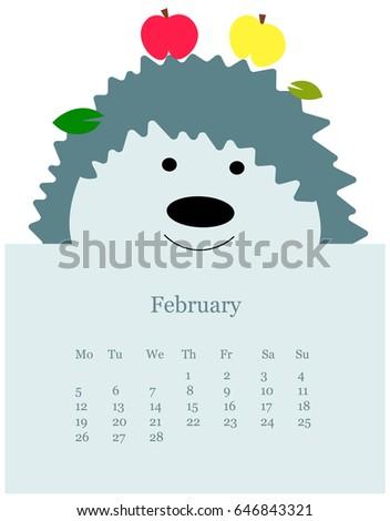 Animal Monthly Calendar Kids Stock Vector 646843321 Shutterstock