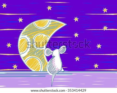 Animal mouse cartoon theme elements. Starlight Night. vector illustration - stock vector