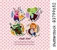 animal music card - stock vector
