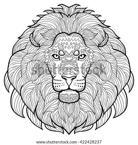 animal outline drawing anti stress coloring in the head of a lion