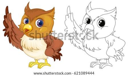 Animal outline cute owl illustration 621089444 animal outline for cute owl illustration voltagebd Image collections