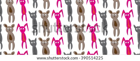 animal pattern on white background. funny animal cat, bear, rabbit cartoon hand drawn toy seamless pattern. vector illustration