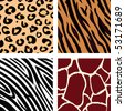 Animal pattern - tiger, zebra, giraffe, leopard. Vector Illustration of tiger, zebra, giraffe and leopard pattern. Animal print pattern. - stock vector