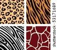 Animal pattern - tiger, zebra, giraffe, leopard. Vector Illustration of tiger, zebra, giraffe and leopard pattern. Animal print pattern. - stock vector