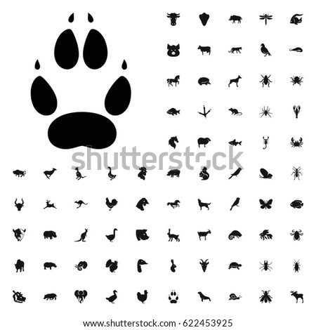 Animal paw icon illustration isolated vector sign symbol. animals icons vector set. on white background