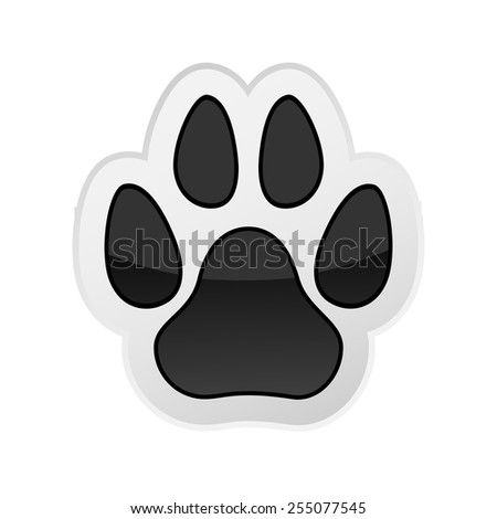 Animal Paw Print Isolated on White. Icon. Vector. Illustration. - stock vector