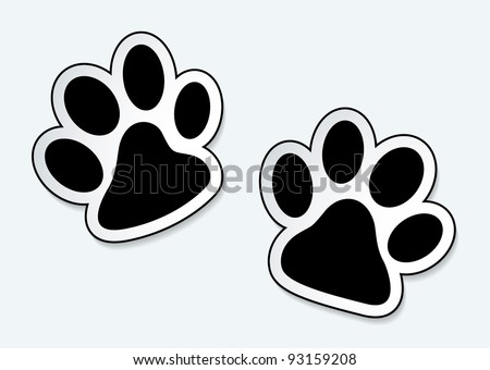 Animal paw prints icons with shadow effect - stock vector