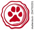 animal paw sign icons (rubber stamp with dog footprint, pets symbol) - stock vector