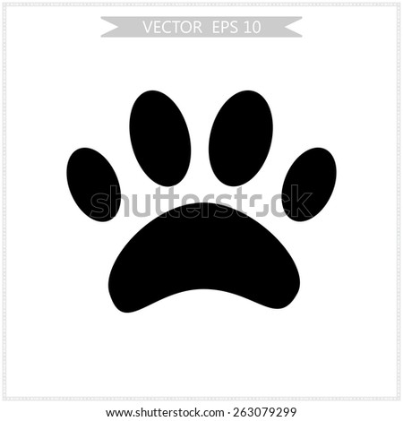 animal paw unusual icon vector - stock vector