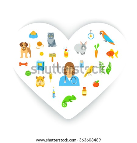 Animal pets grooming and health care flat colorful vector concept, in the shape of a heart. Simple bright symbols of pets, food, toys and accessories for domestic animals with a woman veterinarian - stock vector