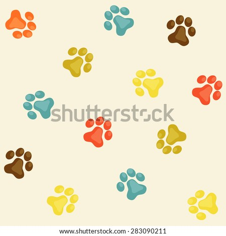 Animal pets step vector seamless pattern for scrapbooking