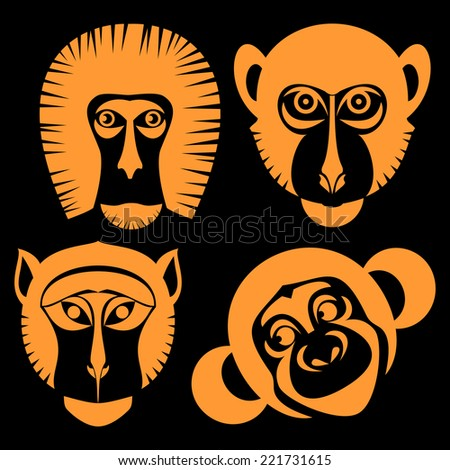 Animal Portrait Monkey. Icons collection.orange mask on a black background . Vector Illustration  - stock vector