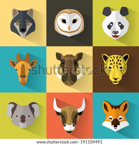Animal Portrait Set with Flat Design / Vector Illustration - stock vector