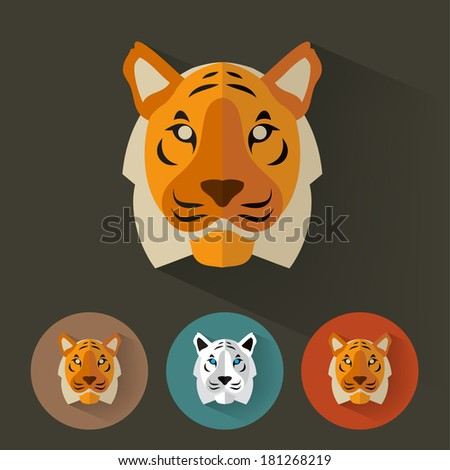 Animal Portrait with Flat Design / Tiger / Vector Illustration - stock vector