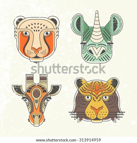 Animal portraits made in unique geometric flat style. Vector heads of cheetah, giraffe, rhino, tiger. Isolated icons for your design.  - stock vector