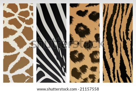 Animal print patterns of tiger, leopard, giraffe and zebra.