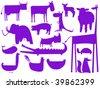 animal purple silhouettes isolated on white, vector art illustration - stock vector