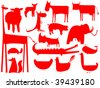 animal red silhouettes isolated on white background, vector art illustration - stock vector