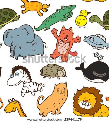 animal seamless background  - stock vector